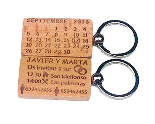 Regalosinlimites Llavero Madera Calendario Grabado: Amazon ...