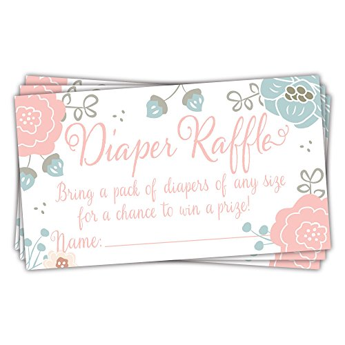 Charming Floral Diaper Raffle Tickets (50 Count) - Baby Shower Game ()