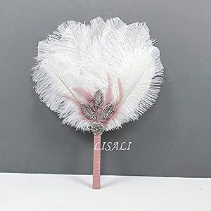 LISALI Feather Bouquet Blush Pink, Bridal alternative Ostrich Feather Fan, Bridal Bouquet, Great Gatsby 1920s Bouquet Bridesmaid Fan wedding 99