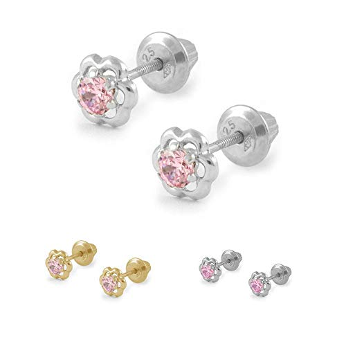 Girls Gold Or Silver Pink Cubic Zirconia Flower Screw Back Earrings