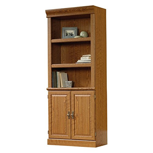 Sauder Orchard Hills Library Bookcase with Doors - Carolina Oak