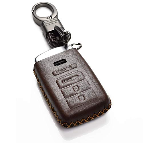 Vitodeco Genuine Leather Smart Key Keyless Remote Entry Fob Case Cover with Key Chain for Acura RLX, Acura TLX, Acura ILX (4 Buttons, Brown)