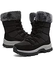 Womens Snow Boots Winter Fur Lined Waterproof Walking Boots Lightweight Outdoor Ankle Boots Ladies Warm Shoes Anti-Slip Mid Calf Boots