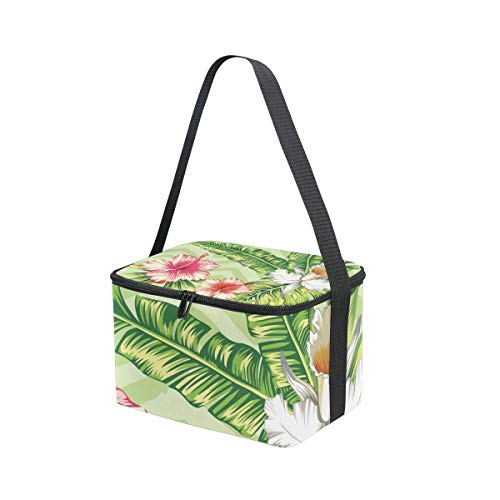 Leaves Palm Strap Cooler Bag White for and Banana Hibiscus Red Lunchbox Pink Lunch Orchid Shoulder Flowers Picnic pwtEZ