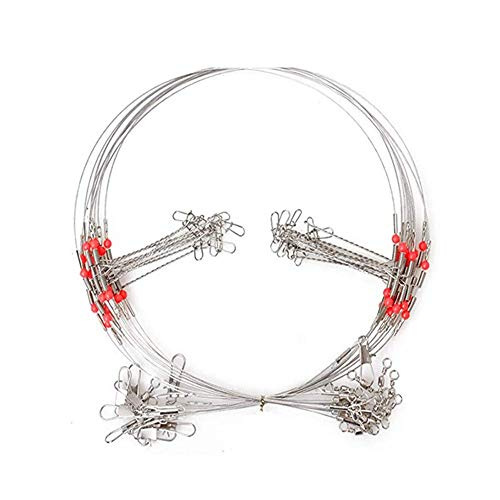 10Pcs Wire Trace Leader Rig Stainless Steel 2 Arm Fishing Rigs Tackle Lure Swivel Snaps Beads High-Strength Fishing Wire ()