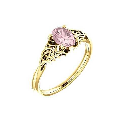 Gemstone rings, 14K Yellow Morganite Celtic-Inspired Ring