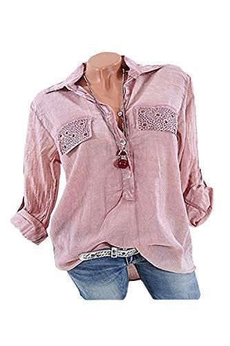 4XL Chemisiers Poches Revers Taille Tops Rose Ajuste Tunique Femme La Et Chemisier Dcontract qZCWOE744n