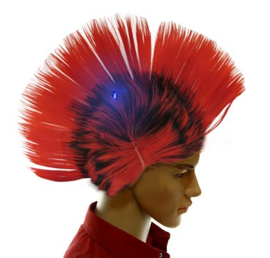 Dazzling Toys Wiggling Punk Blinking LED, Red and Colored Wig. One per (Pep Rally Costume Ideas)