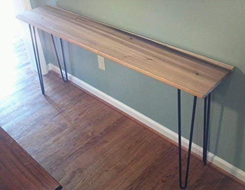 - Beautiful poplar console sofa table with black hairpin legs