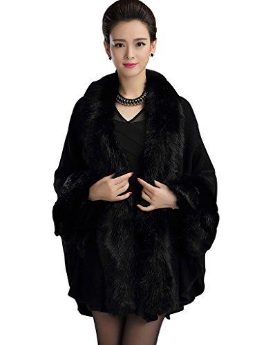 Aphratti Knit Wool Scarf Shawl Cape With Luxury Faux Fox Fur Collar One Size Full Black ()