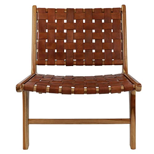 Decor Therapy FR8715 Roy Leather Strap Chair, 27.56″ H X 25.59″ L X 31.10″ W, Antique Brown