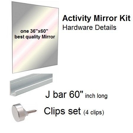 - Fab Glass and Mirror GM36x60 Activity Mirror Kit for Gym & Dance with Safety Backing, 36