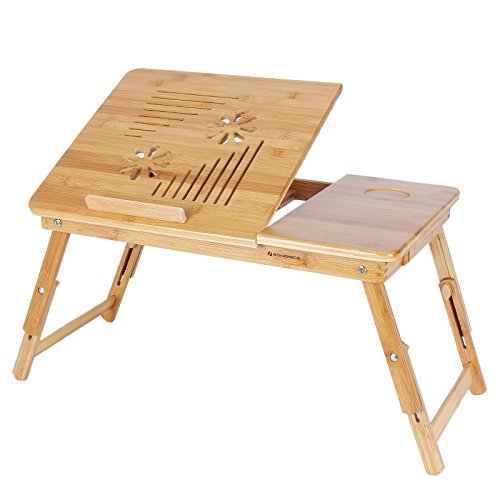 (SONGMICS 100% Bamboo Adjustable Laptop Desk/Table Breakfast Serving Bed Tray w' Tilting Top Drawer ULLD002)