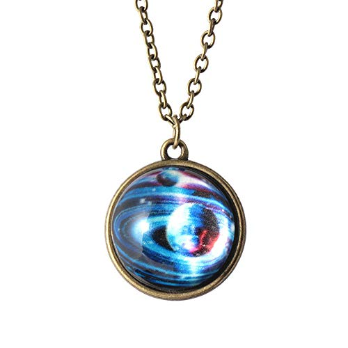 Halloween Hot Sale!!!Kacowpper Galaxy Necklace,Solar System Necklace Pendant Planet Necklace Galaxy Double Sided Glass Dome Valentine's Day Best Gift Between ()