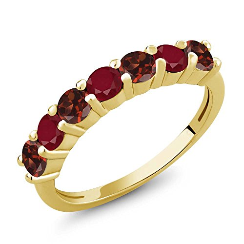 Gem Stone King 1.46 Ct Round Red Garnet Red Ruby 18K Yellow Gold Plated Silver Anniversary Ring (Size 9)