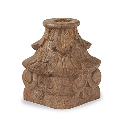 (Mud Pie Carved Wood Taper Candlestick)