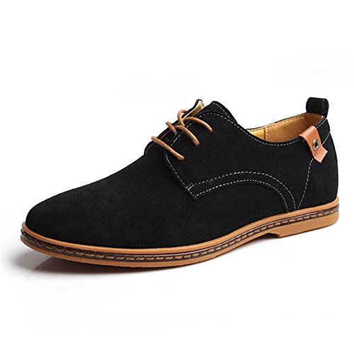 Gomotion Men's Classic Leather Oxford Lace Up Flats Shoes Loafers Black 10