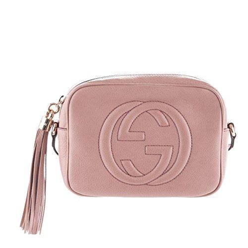 GUCCI Soho Disco Dark Cipria Cinnamon Leather Crossbody Bag New