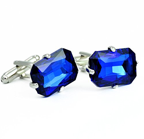 Crystal Cubic Zirconia Cufflinks - ENVIDIA Cubic Zirconia Blue Crystal Cufflinks Fashion Jewelry Gift Wedding Party With Box