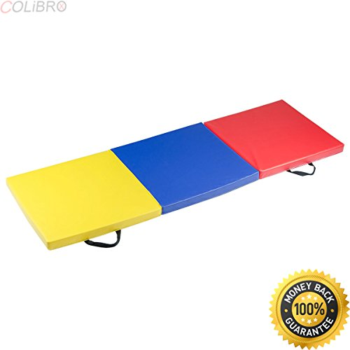 COLIBROX–Colorful Tri-Fold Gymnastics Mat 6'x2′ Folding Fitness Exercise Carrying Handles. gymnastics mats walmart. best gymnastics mats for sale. gymnastics mats amazon.