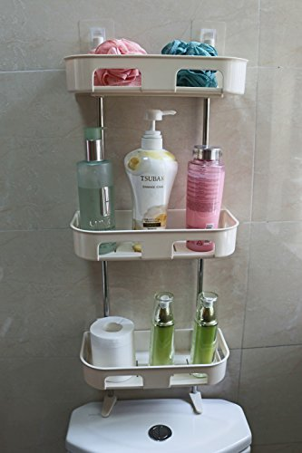 exilot 3-Tier Standing Rack Bathroom Organizer, Over the Toilet Storage, Kitchen Countertop Spice Jars Bottle Shelf Holder.