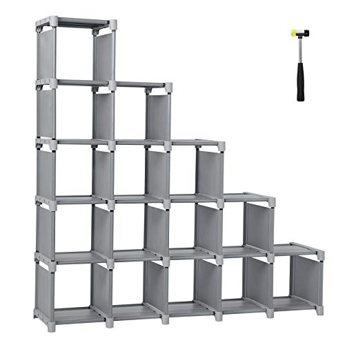 - SONGMICS 16 Cube Shoe, DIY Modular Storage Shelves Bookshelf Toy Rack, Display Cabinet Closet Organizer Unit, Includes Rubber Mallet, Gray ULSN56GY, Grey