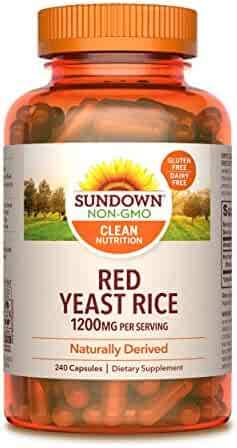 Sundown Red Yeast Rice 1200 mg Capsules (240 Count), Naturally Derived, Gluten Free, Dairy Free, Non-GMO, No Artificial Flavors (Packaging May Vary)