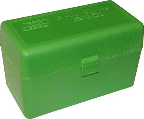 MTM Case-Gard R-50 Series Large Caliber Rifle Ammo Box, 50 Round, Green