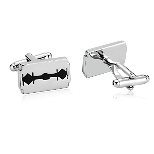 KnSam Stainless Steel Silver Black Fashion Razor Blade Style Cufflinks for Mens