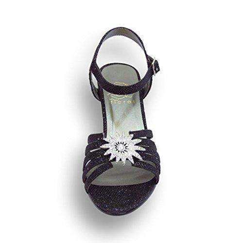 Fic Bloemen Melina Vrouwen Brede Breedte Jurk Sandaal Voor Bruiloft, Prom, Avond (maat & Meting Gids) Zwart