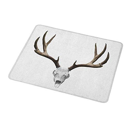 Gaming Mouse Pad Custom Antlers,A Deer Skull Skeleton Head Bone Halloween Weathered Hunter Collection,Warm Taupe Pale Grey,Non-Slip Personalized Rectangle Mouse pad 9.8