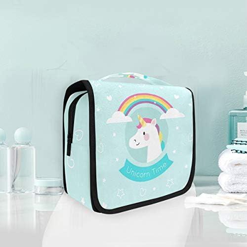 レインボーユニコーンハンギング折りたたみトイレタリー化粧品袋メイク旅行オーガナイザーバッグケース用女性女の子浴室