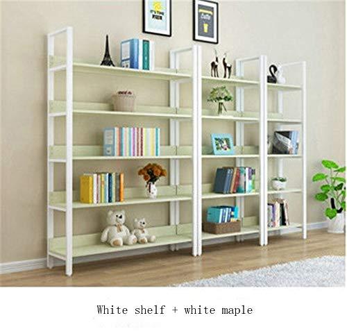 (FKXL Bookshelf - Household Iron Racks Living Room Steel Wood Display Stand Bookshelf Cosmetic Combination Storage Rack)