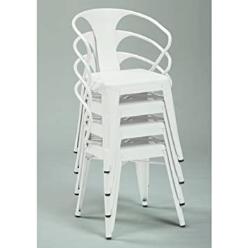 Attractive White Tabouret 3522 Stacking Chairs (Set Of 4).