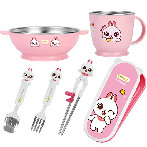 Edison Kids Serveware Set - Soup Bowl, Drinking Cup with Spoon, Fork, Learning Chopsticks in Case (Pink, Rabbit)