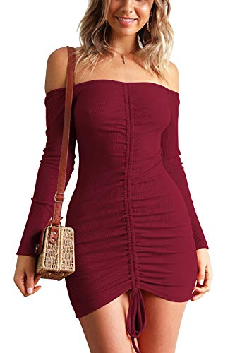 Velius Women's Sexy Front Drawstring Off Shoulder Knitted Ruched Bodycon Clubwear Mini Dress (Small, Dark Red) -