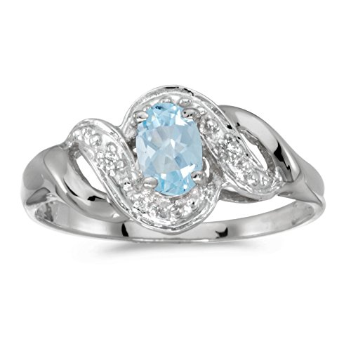 14k White Gold 6x4mm Oval Aquamarine And Diamond Swirl Ring. Size 7 - White Gold Oval Swirl