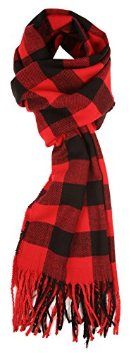 Plaid Scarf - Love Lakeside Cashmere Feel Winter Plaid Scarf, Buffalo Check, Red