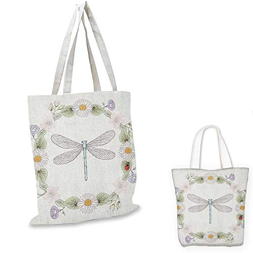 Dragonfly canvas shoulder bag Vintage Retro Farm Life Inspired Moth with Daisies Lilies Leaves Image canvas lunch bag Lilac Green. 12