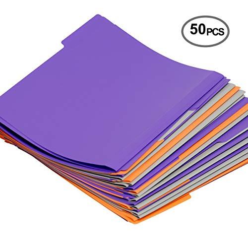 Plastic file folder letter size 3 color,1/3 cut tab,50 Per Box -