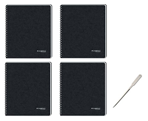 Universal Office Letter Opener - Cambridge Business Notebook with Pocket, Hardbound, 8-1/4 x 11 Inches, Black, Pack of 4 (06100) - Bundle Includes Universal Letter Opener