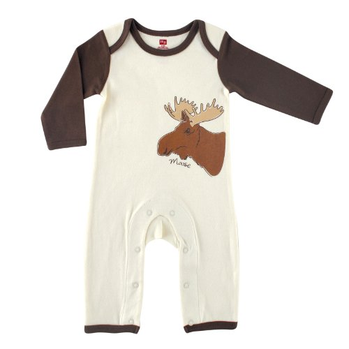 Touched by Nature Unisex Baby Organic Cotton Coveralls and Union Suits, Moose 1-Pack, 0-3 Months (3M)