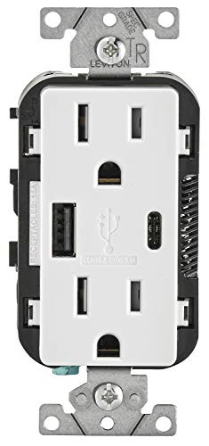 Leviton T5633-W 15-Amp Type A & Type-C USB Charger/Tamper Resistant Outlet, Compatible with Apple Devices, Samsung Devices, Google Devices and More - Not for Laptops, White