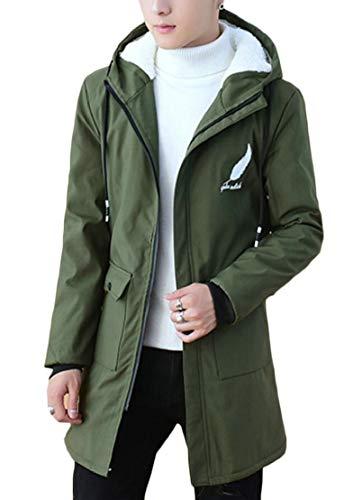 Cappotto Verde Zip Ttyllmao Moda Pile Addensare Esercito Outwear Sottile Felpa Cappuccio Con Foderato Fino Maschile Xxv1v7