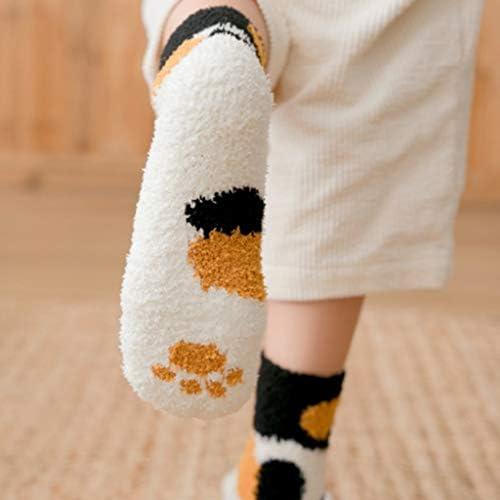 liaobeiotry Damen Wintersocken niedliche Katzenpfoten-Print flauschig warm flauschig