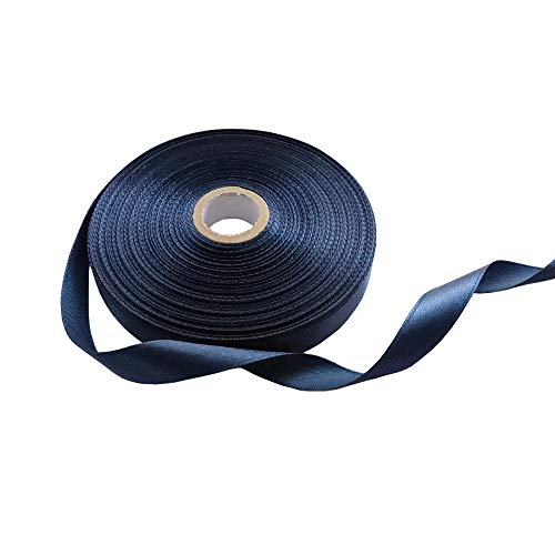- 1/2 Inch Single Face Solid Polyester Satin Ribbon 50 Yards for Gift Package Wrapping,Floral Design,Hair Bow Clip Making,Crafting,Sewing,Wedding Decor,Boy Girl Baby Shower, Navy Blue