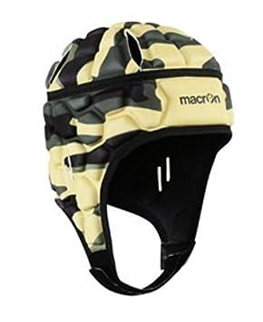 Macron - Casco de protección de estilo militar para fútbol y rugby, negro, XL