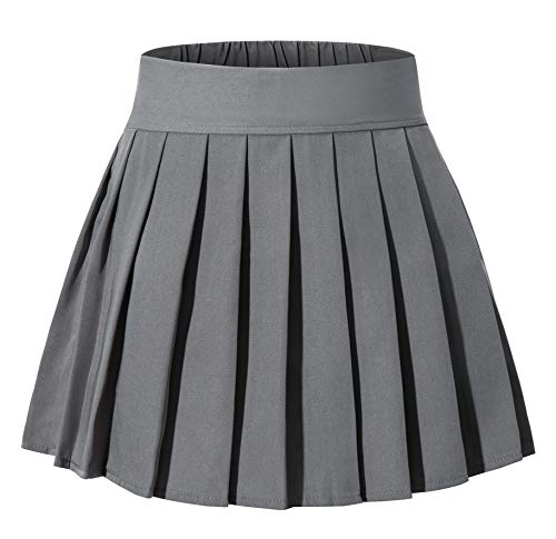 Japan Anime Short Pleated Party Cos Skirts(S,Dark Grey) -