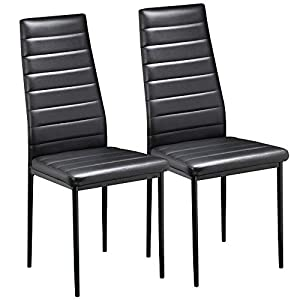 Yaheetech 2pcs Modern Parson Dining Chairs with High Back Soft Padded Seat Faux Leather Sturdy Metal Legs Protective…