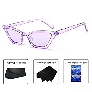 GAMT Vintage Cat eye Sunglasses for women Square Shade Women Eyewear Retro Candy Colorful Lens Glasses Purple frame purple